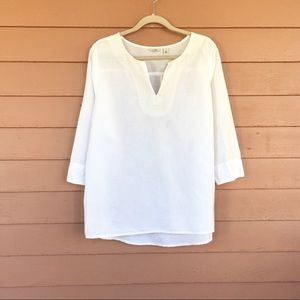 L.L. Bean white linen blouse tunic embroidered